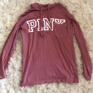 Pink hooded long sleeve shirt size XS